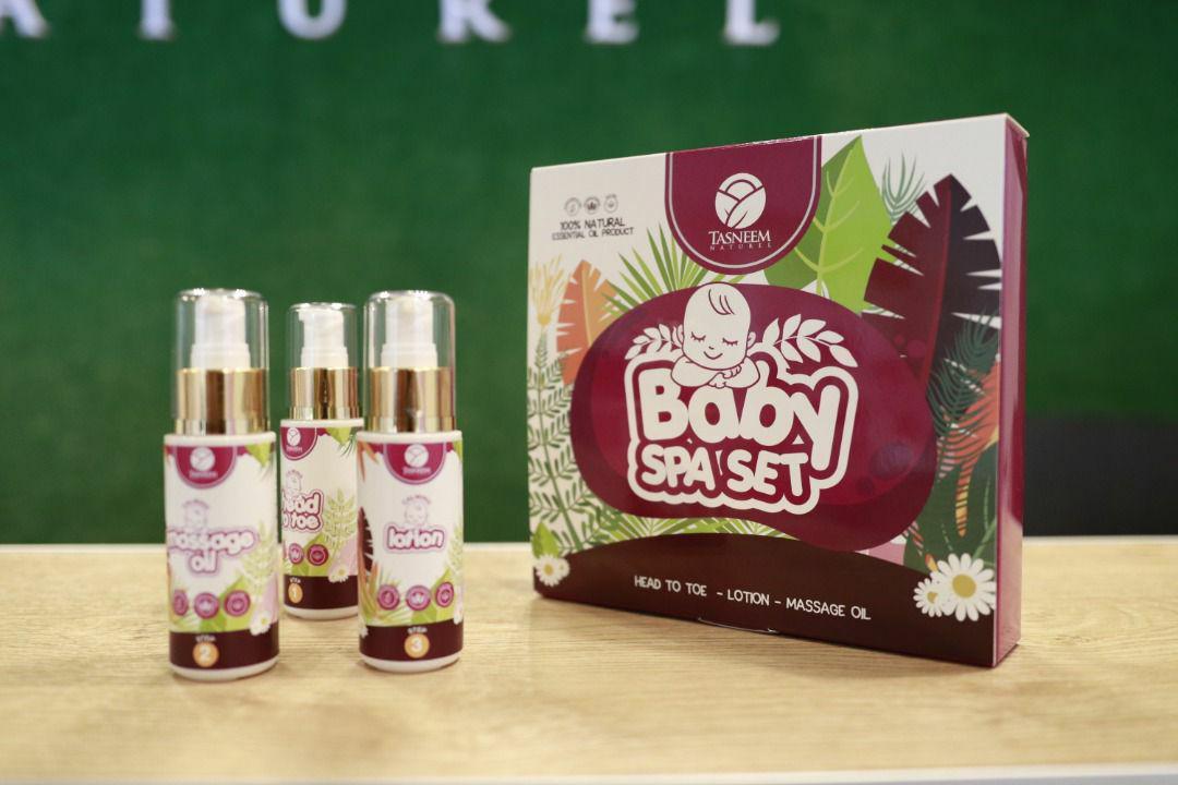 tasneem naturel, baby oil, baby lotion, massage oil, mandian bayi