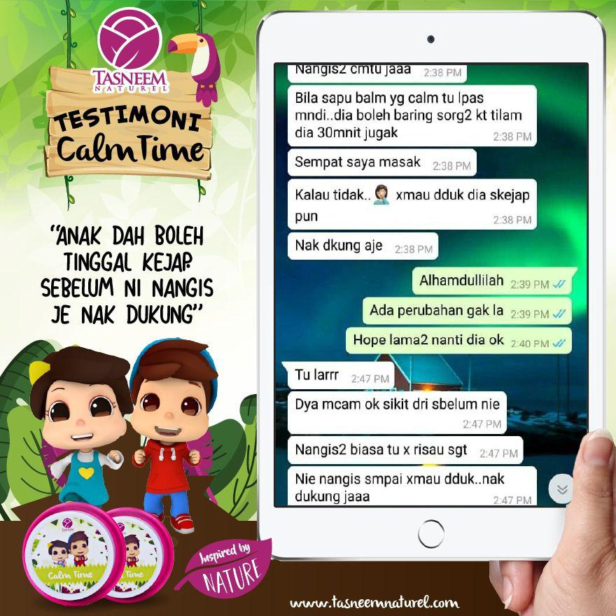 testimoni calm time, tantrum, tasneem naturel